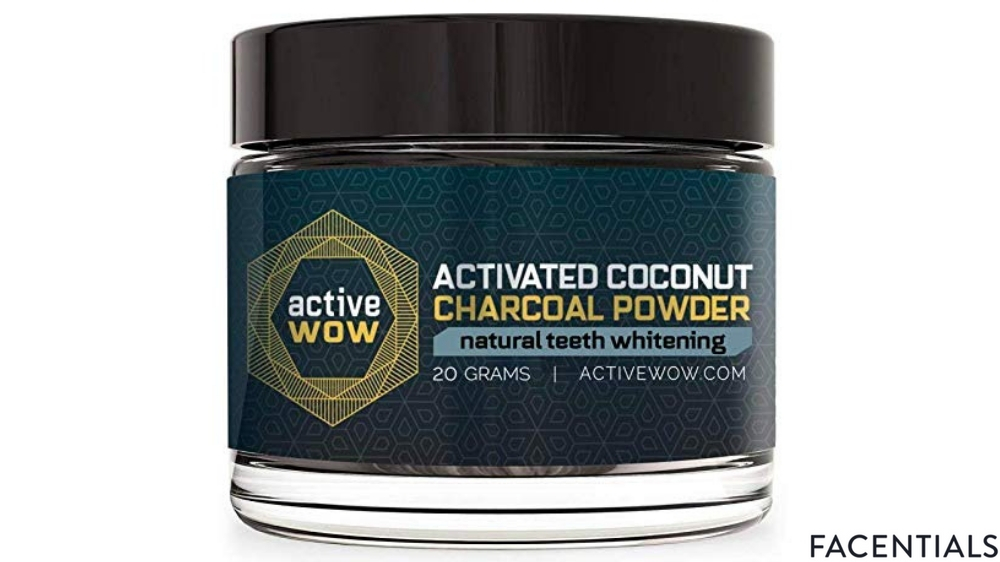 active wow natural teeth whitening charcoal powder front product photo