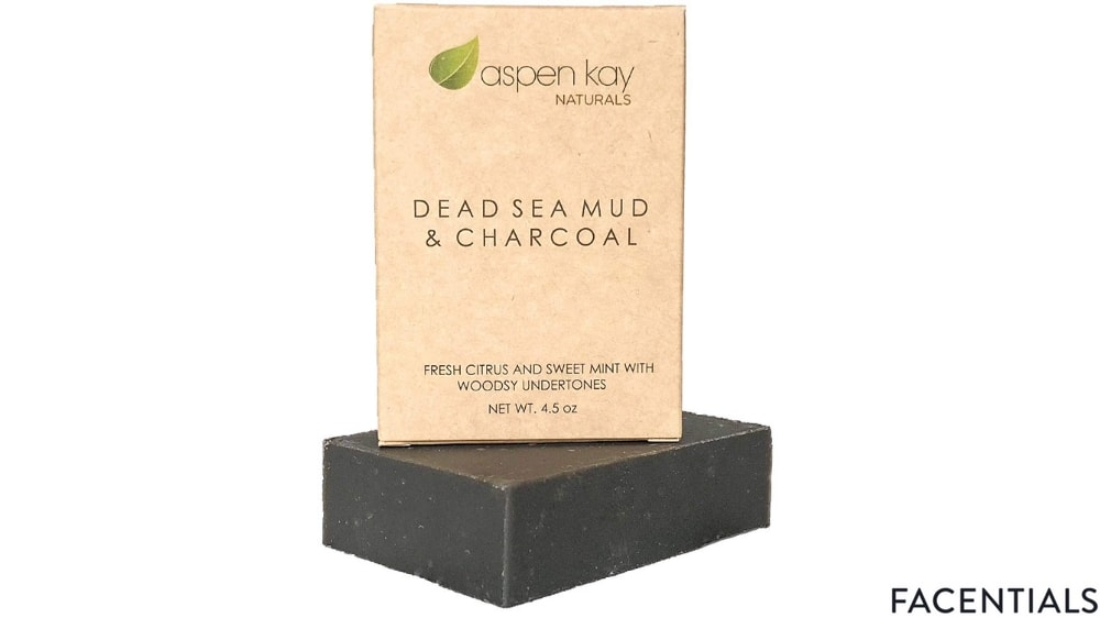 aspen kay naturals dead sea mud soap bar organic natural with activated charcoal and essential oils front product photo