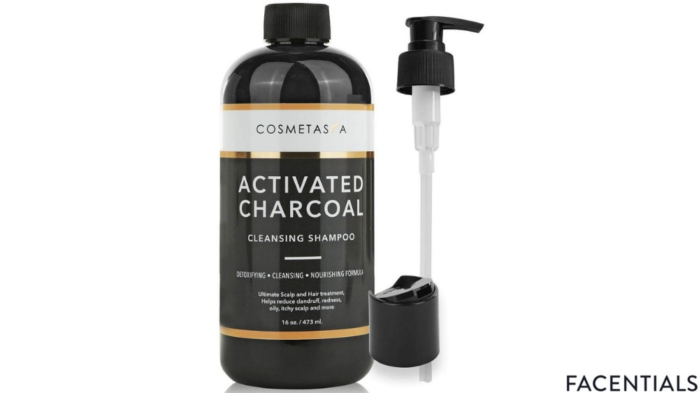 cosmetasa activated charcoal cleansing hair scalp clarifying volumizing shampoo front product photo
