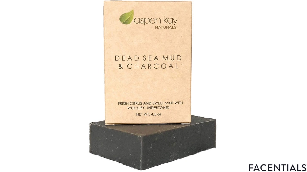 aspen kay naturals dead sea mud soap bar organic activated charcoal soap front product photo